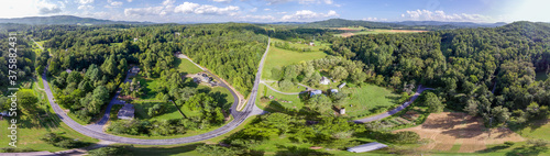 Fotografering Aerial of farm land in the Mountains of North Carolina