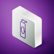 Isometric line Spray can for hairspray, deodorant, antiperspirant icon isolated on purple background. Silver square button. Vector Illustration.