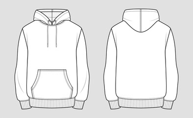 Hoodie. Technical sketch of clothes. Fashion vector illustration