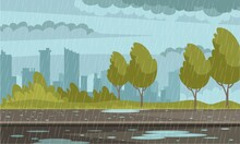 Rainy Weather Urban Background. Outdoor Street In Rain, Pavement In Puddles, Sky With Clouds, Buildings. Autumn Bad Weather Vector Illustration. Modern Roadside In Rain Storm