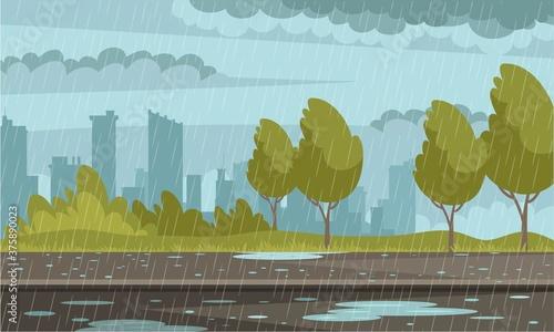 Rainy weather urban background Canvas