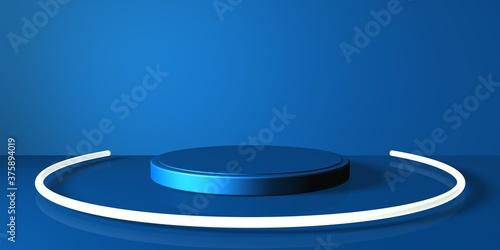 Photo Espositore vuoto circolare blu su fondo blu, podio o piedistallo per esposizione