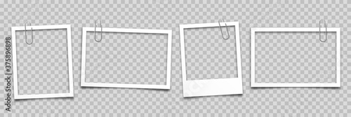 Realistic empty photo card frame, film set. Retro vintage photograph with paper clip. Digital snapshot image. Template or mockup for design. Vector illustration.