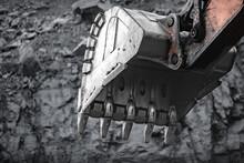 Loading Excavator Iron Bucket Mine Brown Coal Open Pit Industry