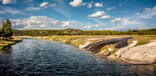 Yellowstone River And Iron Spring In Yellowstone National Park Wyoming