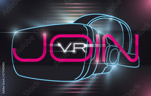 Stampa su Tela VR Headset and Glows inviting You to Join to the Virtual Experience, Vector Illu