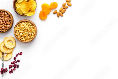 Appetizer snacks for company - nuts, dried fruits top view