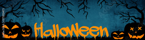 HALLOWEEN background banner wide panoramic panorama template -Silhouette of scar Wallpaper Mural