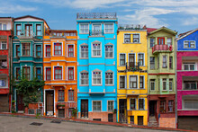 Colorful Historical Houses In The Old Neighborhood Of Balat In Istanbul, Turkey