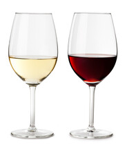 Red And White Wine Glass Isola...