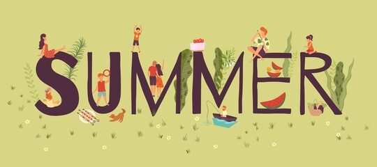 Useful rest, composition summer capital letters and tiny people, outdoor recreation in nature, design cartoon vector illustration. Active lifestyle, colorful landscape, travel adventure, hiking,