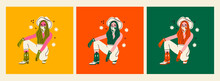 Set Of Three Stylish Young Women With A Cowboy Hat And Bandana. Cowboy Girl Sitting And Wearing Green Boots And Gloves. Hand Drawn Colored Trendy Vector Illustrations