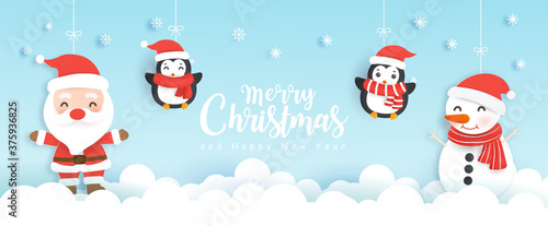 Foto Christmas background with Santa clause and friends.