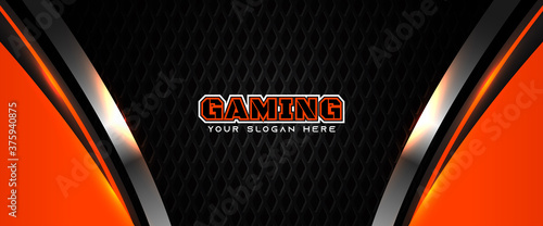 Fotomural Futuristic orange and black abstract gaming banner design with metal technology concept