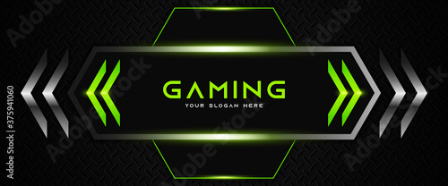 Obraz Futuristic black and green abstract gaming banner design with metal technology concept. Vector illustration for business corporate promotion, game header social media, live streaming background - fototapety do salonu
