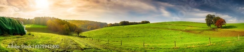Panorama of an autumn landscape in the light of the morning sun