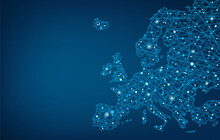 Connected Map Of Europe Vector Illustration Background  – European Union Concept: Cooperation, Technology, Digitalization, Future