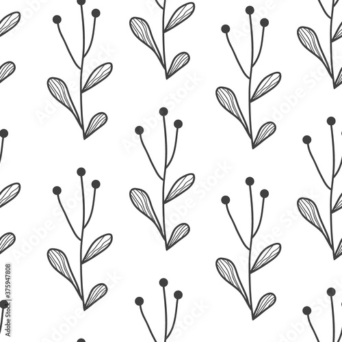 Vector seamless border with doodle hand drawn plants Fotobehang