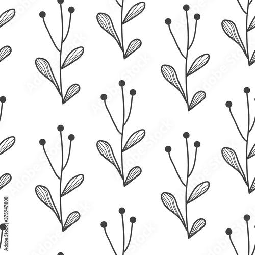 Obraz na plátně Vector seamless border with doodle hand drawn plants