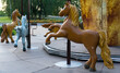 Wooden brown color horses carousel