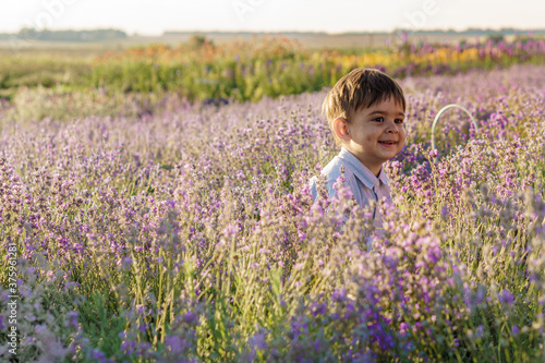 childhood, provence style concept - happy 2 year old dark-haired little boy of M Canvas Print