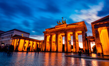 Beautiful Brandenburg Gate In Berlin At Evening, Germany