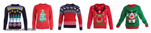 Obraz Set of warm Christmas sweaters on white background. Banner design - fototapety do salonu