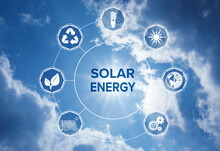 Solar Energy Concept. Scheme With Icons And Sky On Background