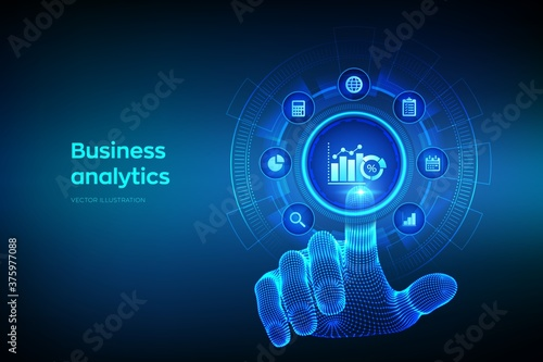 Business data analytics and robotic process automation concept on virtual screen Fototapet