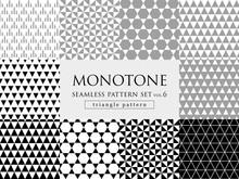モノトーンの三角柄 シームレスパターンセット