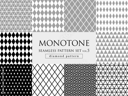 Obraz na płótnie モノトーンのダイヤ柄 シームレスパターンセット