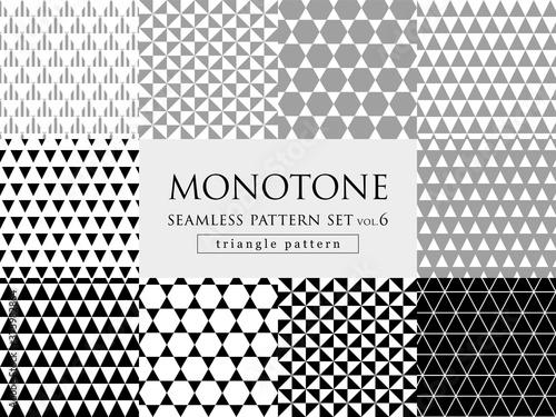 Foto モノトーンの三角柄 シームレスパターンセット