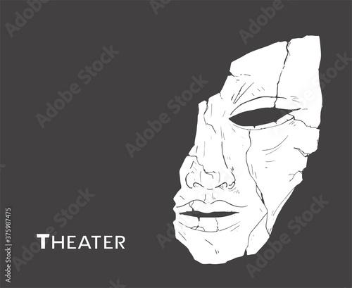 Foto Design of broken theater mask