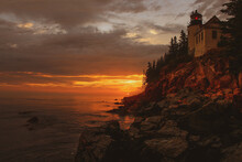 Sunset At Bass Harbor Head Lig...