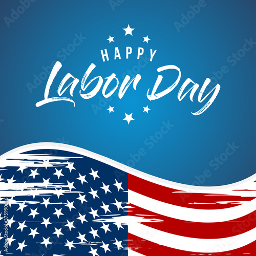 Fotografija Labor Day greeting card with brush stroke background in United States national flag colors and hand lettering text Happy Labor Day