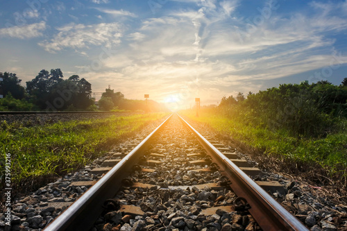 railway in the countryside Wallpaper Mural