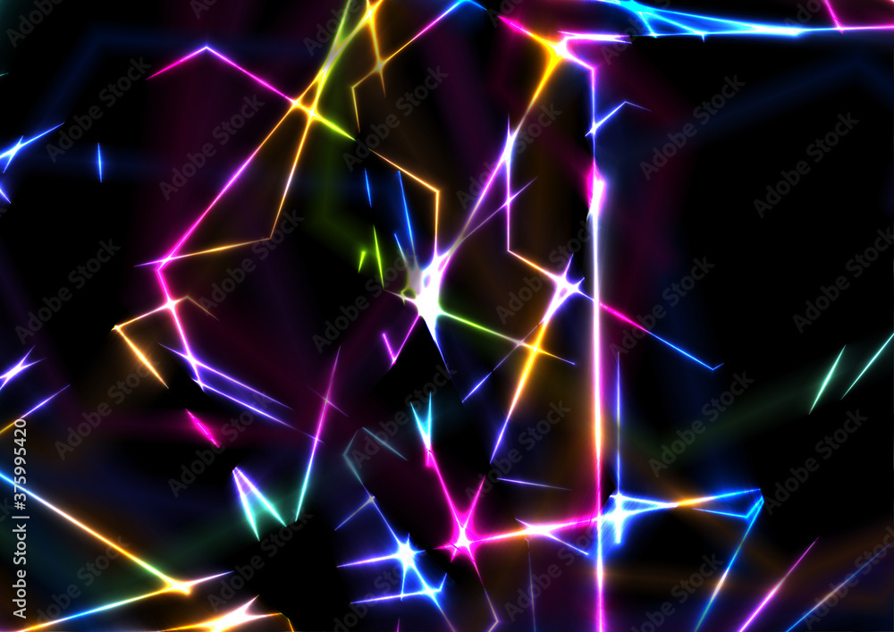 Colorful glowing neon laser lines abstract background. Concept crystal glass vector design