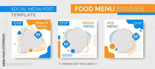 Fotomural Food Menu Banner Template, Social Media  Food Tamplate, Instagram Post Food Temp