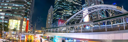 Fotografie, Obraz Banner of Bangkok Thailand at night