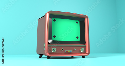 Photo Vintage TV Television side view, old television vintage style, 3D Rendering