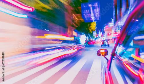 Obraz na plátně Motion blurred drive through Osaka, Japan at night