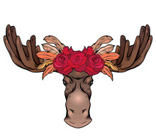 Contour Colorful Illustration Of A Moose Head With Antlers And Rose Wreath Front View. Wild Mammal. Vector Color Outline Silhouette For Logos, Icons, Postcards And Your Designs.