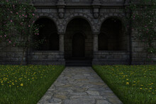 Castle Entrance With Stone Arc...