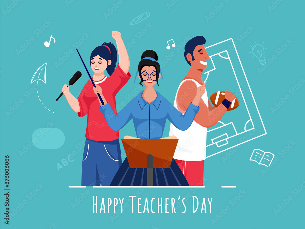 Fototapeta Young Singer Girls and Rugby Player Character on Turquoise Background for Happy Teacher's Day Celebration.