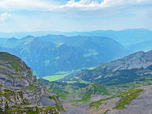 Alpine valley Melchtal along the river Grosse Melchaa and in Uri Alps mountain m Canvas Print