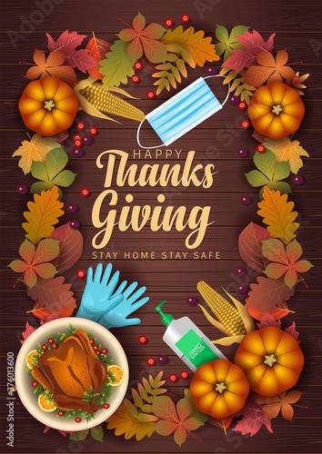 Happy Thanksgiving Day elements with wood background poster, banner template. Vector illustration. covid 19, coronavirus concept