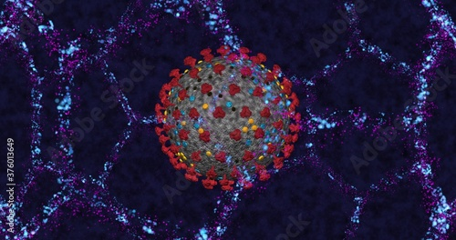 Fototapety, obrazy: Coronavirus cell COVID-19 close up on neon molecular structure background. 3D rendering 3D illustration