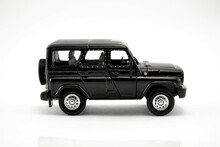 A Copy Of The Russian UAZ Car In Black Side View