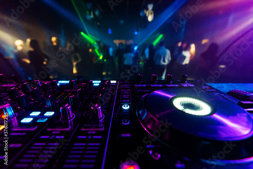 Obraz na plátně professional DJ mixer controller for mixing music in a nightclub