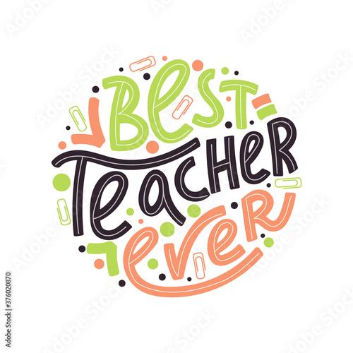 Valokuva Happy teacher's day typography illustration